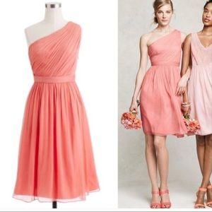 Coral Pink J. Crew Kylie dress silk chiffon 8, 6